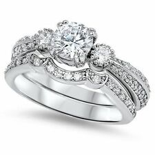 Cubic Zirconia Engagement & Wedding Ring Sets with Diamonds