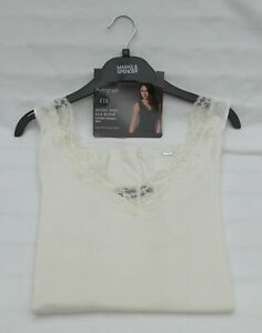 LADIES MARKS AND SPENCER AUTOGRAPH CREAM MODAL & SILK BLEND LUXURY VEST SIZE 18