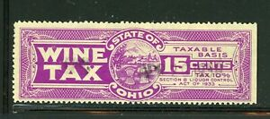 US State of Ohio 15 Cent Wine Tax Stamp - Used