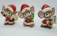 Set of 3 Vintage Homco Christmas Santa Mice Porcelain Figurines 5405 Tawian