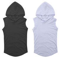Men Gym Bodybuilding Singlet Sport Hoodie Tank Top Muscle Hooded T-Shirt Vest