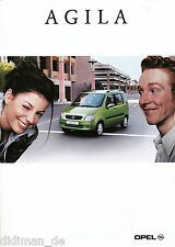 Opel Agila Prospekt 9/00 brochure 2000 Auto PKWs Deutschland Verkehr Broschüre