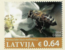 Latvia Lettland  Germany  2014 Postcard Flowers  and bee insect , honey MNH