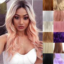 """24"""" Heat Resistant Lace Front Wig Synthetic Hair Long Wavy Black Root Ombre Wig"""