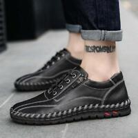 Mens Zipper Oxfords Leather Boat Shoes Driving Lace Up Moccasin Breathable Soft