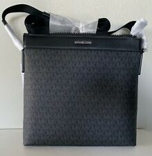 Michael Kors Cooper Black MK Signature PVC Large Messenger Crossbody Bag