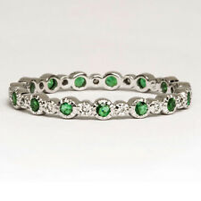 EMERALD GREEN DIAMOND NATURAL ETERNITY BAND 14K WHITE GOLD DAINTY COCKTAIL RING