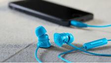 Écouteurs bleus avec contrôle du volume avec fil