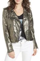 BLANK NYC Women's SZ L Gold Metallic Moto Jacket Vegan Faux Leather NWT $128