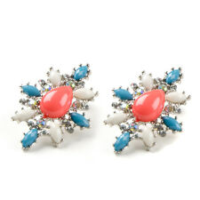 Silver Floral Cluster Earrings Pastel Pink Blue Pretty Prom Vintage Stud Fashion