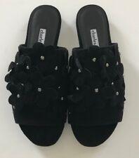 Charles David Sicilian Black suede Sandal Size 6 Floral Open Toe New