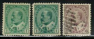 Canada #89(2),93 1903-08 MH(89)/Used