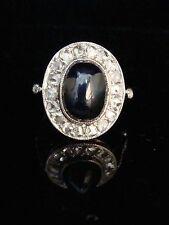 ART DECO PLATINUM francese cabacheon Zaffiro ROSA TAGLIO anello di diamanti Cluster