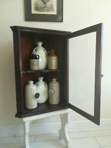 Antique Mahogany Corner Cupboard Display Cabinet Brass hinges Delivery Available