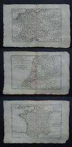 1787 Bonne Atlas 3 x maps  POLAND - GERMANY - NETHERLANDS - FRANCE
