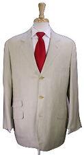 * HERMES * Beige Textured Silk-Linen 3-Btn Hacking Luxury Handmade Suit 46R