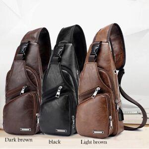 Mens Leather Chest Pack Shoulder Bags Sports Crossbody Handbag USB Charging Port