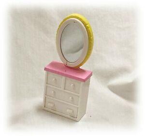 """3/4"""" Scale Vtg 2009 Dollhouse Miniature Fancy Nancy Mirror Dresser Vanity Jakks"""