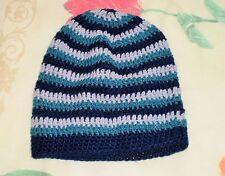 Bonnet beanie hat couleur rayé bleu marine gris vert taille unique