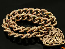 "B010 Genuine 9ct Solid Rose Gold CURBLINK PADLOCK Bracelet 47gr 8.5"" 21.5cm Long"