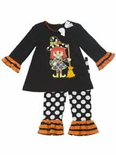 RARE Editions Girls Witch Applique Fall Halloween Dress Outfit Set Size 9m