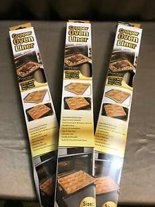 """3 Copper Oven Liner reusable cooking sheets cookie tray liners 15x19"""" durable"""