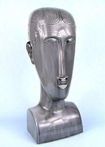 "MODIGLIANI STYLE ELONGATED HEAD 14"" MID-CENTURY MODERN GREY CERAMIC SCULPTURE"