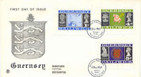 GB GUERNSEY 1969, 1 P, 4 P and 5 P Definitives - Booklet Stamps on superb FDC