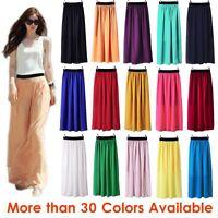 Women Double Layer Chiffon Pleated Retro Long Maxi Dress Elastic Waist Skirt GRL