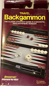 1988 MINI MAGNETIC BACKGAMMON TRAVEL GAME SET - Pressman Vintage