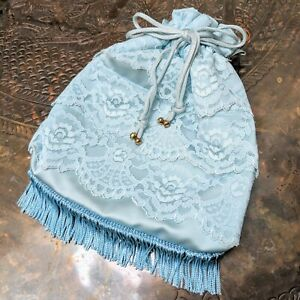 Vintage Powder Blue Lace Drawstring Purse Bag with Fringe and Gold-Toned Detail