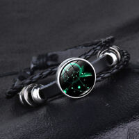 12 Constellation Bracelets Men Women Genuine Leather Stainless Steel Bracelet