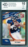 2010 Donruss Rated Rookies #95 Tim Tebow Rookie Card BGS BCCG 10 Mint+