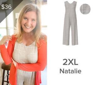 NWT Lularoe Size 2XL 2XLarge Natalie Jumpsuit Plaid