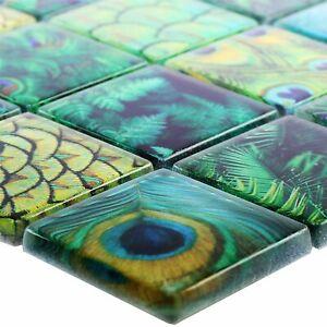 MUSTER Glasmosaik Fliesen Peafowl Grün | Fliesenbordüre Küchenspiegel Dusche