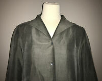 Eileen Fisher Gray Silk Button Front Jacket, Size Small