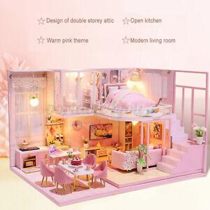 DIY Doll House LED Light Mini Miniature Dollhouse Furniture Assembling Kit Gift