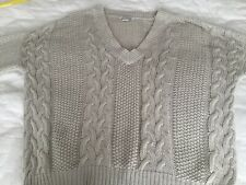 Nastygal Glamorous Cotton Blend Beige Cable Womens Sweater Size M