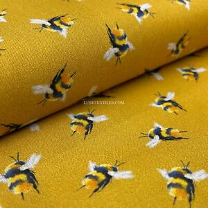 100% Cotton Bee's Mustard Bumblebees Fabric Dress Face Masks Patchwork WHOLESALE