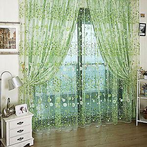 1PC Grommet Voile Sheer Floral Tulle Window Curtain Door Curtain Drape Panel