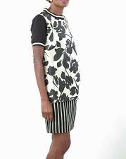 Weekend Max Mara Ladies Black Cream Floral Design Layered Dress Size UK 14 BNWT