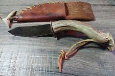 Antique Clarks Handmade Bowie Knife w Sheath& Stag Antler Handle & Tip Sharpener
