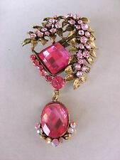 VINTAGE INSPIRED ANTIQUE GOLD HOT AND PALE PINK RHINESTONE DANGLE DROP BROOCH