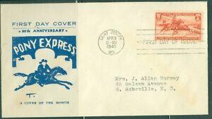 US -FDC-P0NY EXPRESS 80th.ANNI. cancelled SAINT JOSEPH MO. APR.3-1940 ADDR.