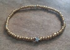 Gold Seed Beaded Surfer Style Bracelet Tibetan Silver Star Charm Stretchy Boho