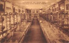 Denver CO Cliffdweller & Indian Room~Display Cases~Sepia Postcard