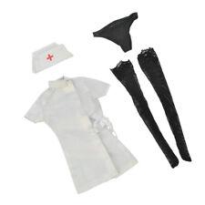 1/6 White Nurse Uniform Hat Dress Stockings Briefs for 12'' Action Figure
