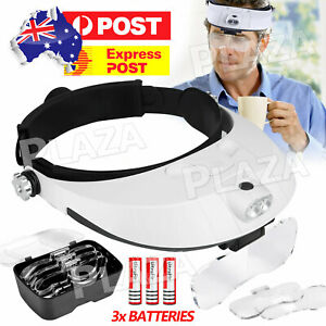 Headband Magnifier 2 LED Lamp Light Jeweler Head Mounted Magnifying Glass Loupe