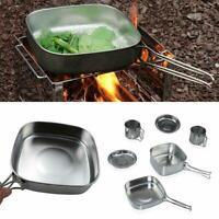 6Pcs Picnic Steel Camping Cookware Cooking Bowl Pot Pan Set Outdoor AU