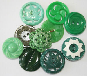 Vintage Plastic Realistic, Pierced Green Buttons~Colt, Flowers, Leaf